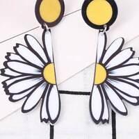 Women Chic Acrylic Daisy Flower Pendant Ear Stud Earrings Party Jewelry Fashion