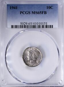 1941 Mercury Dime PCGS MS65FB Original Toning