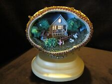 """ENESCO Ostrich Egg House country scene lighted Diorama Music box 1988 7""""H 6""""W"""