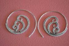 925 Sterling Silver Big Hoop Swirl Ethnic Bohemian Mandala Flower Earrings