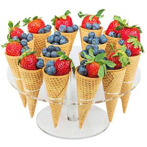 16-Hole Acrylic Ice Cream Cone Dessert Holder Display Stand Party Shelf Supplies