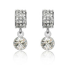 18k White Gold Filled Crystals Wedding Bridal Women Dangle Earring XE53