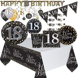 Black, Gold, Silver 18th Birthday Party Supplies Tableware, Decoration, Balloons
