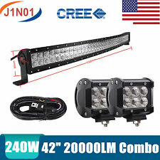 CURVED 42INCH 240W COMBO LED LIGHT BAR UTE ATV TRUCK 4WD PICK UP CART 40/44 18W