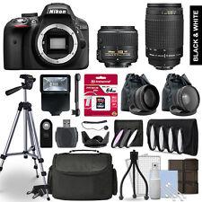 Nikon D3300 SLR Camera 4 Lens Kit 18-55 + 70-300mm + 64GB Accessory Bundle
