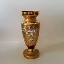 Antique MOSER Bohemian Cranberry Vase w/Heavy Applied Enameled Flowers