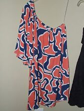 Zen Spell Sz Med One Shoulder Blouse Navy Blue Coral Geometric Top Shirt Boutiqu