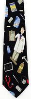Doctor Men's Necktie Nurse Physician Medicine Medicine Medical Black Neck Tie