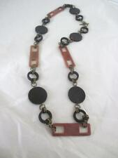 """30"""" Necklace Vintage 1980s Black & Brown Acrylic Bronze Tone Links Toggle Clasp"""