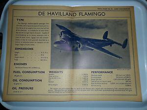 DE HAVILLAND FLAMINGO AERO ENGINEERING AIRCRAFT OLD DATA CHART DH 95 RAF BRISTOL