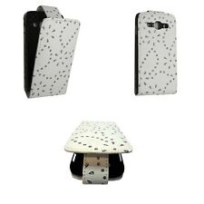 CASE FOR SAMSUNG GALAXY ACE 3 WHITE GLITTER FLIP PU LEATHER POUCH PHONE COVER
