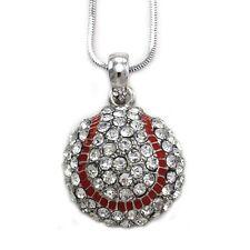 Baseball Pendant Necklace Silver Tone Clear Rhinestone Sport Costume Jewelry f5