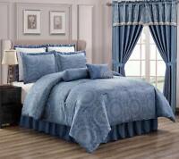 Chezmoi Collection Anastasia 8-Piece Jacquard Medallion Comforter or Curtain Set