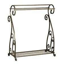 Bronze Finish Quilt Rack Blanket Stand Bedspread Storage Display Scrolled Iron