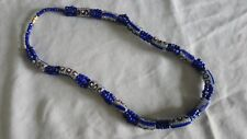 African Tribal Sandcast Glass Bead Necklace Blue White