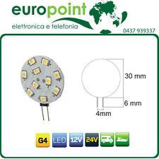 10 x Lampada LED G4 bispina 12V 24V luce bianco naturale 4500K x camper e baite