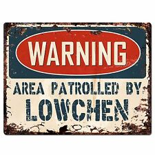 Pp2441 Warning Area Patrolled By Lowchen Plate Chic Sign Home Store Decor