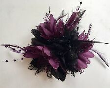 Black and Dark Purple Fascinator on Clip Pin Hairband Feathers Laces Beads