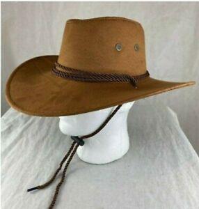 Men Women Wide Brim Faux Suede Triple Strings Hat Western American Travel Hats