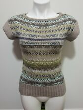 The Limited Brown Fair Isle Print Short Sleeve Soft Wool Knit Sweater Size XS