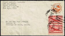 1048 APO 633 US TO CHILE REVALUED AIR PS STATIONERY ENVELOPE 1947 NEW YORK - SGO