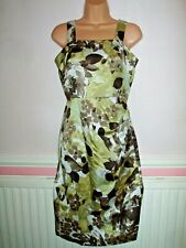 NEW Phase Eight Silk Mix Sleeveless Black Green Floral Print Fitted Dress Size 8