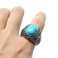 Men's Classic Vintage Big Turquoise Stainless Steel Carved Band Ring New Well