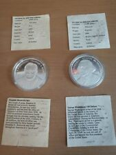 Set of two Republic of Liberia Silver Coins 20 grams each Roosevelt and Washingt