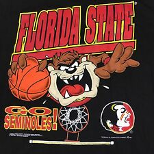 NOS Vintage 1992 Taz Florida State Seminole Black T-Shirt XL Looney Tunes Rare