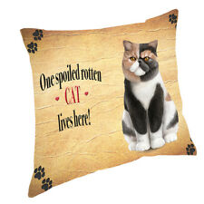 Cat Exotic Short Hair Spoiled Rotten Cat Throw Pillow 14x14