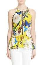 Roberto Cavalli Wonderland Floral Print Silk Halter Top NWT! $1220   SZ 42  C025