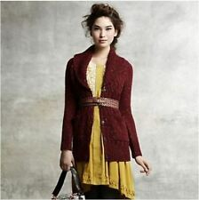 Anthropologie Isabella Sinclair Red 'Farfar' Cardigan Sweater Size L EUC