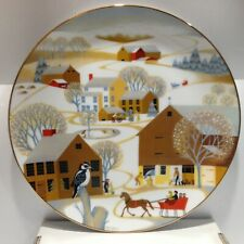 """Super-Vintage 1981 (Uvgc) """"Christmas on the Farm"""" Designer Plate by Betsey Bates"""