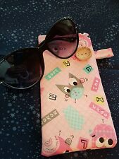 HANDMADE FULLY LINED QUILTED  SUNGLASSES/SAMSUNG S7 CASE PINK/OWLS