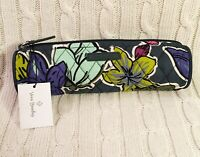 Vera Bradley On A Roll Case Falling Flowers Green Pencil Case Cosmetic MSRP $18