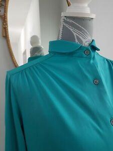 Vintage 80s Parigi Satin Blouse teal green Long Sleeve Slim Collar Size 12-14