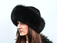 Jet Black Fox Fur & Black Leather Women's Vault Winter Furry Hat