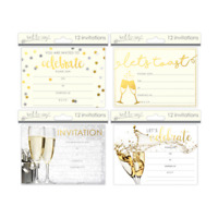 Party Invitation Adult Gold Cards with Envelopes Pack 12 Size 140x100mm-4 design