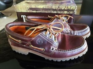 Timberland Loafers Icon Three-Eye Classic Lug Sole Boat Shoes Burgundy Size 8.5