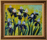 "Irises. Original framed oil on canvas 16""x20"" impressionistic painting."