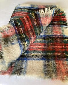 Mohair Scotland Dress Stewart Stadium Blanket Throw 69 x 49 Tartan Plaid Fringe