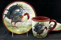 Certified International LE ROOSTER 2 Salad Plates + Mug GREAT CONDITION