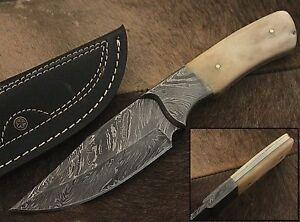 Eye Catch Custom Made Damascus Steel Professional Hunting Knife, Leather Sheath