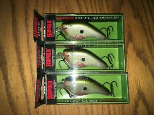 RAPALA DT FLAT 03's--3 BLD OLIVE SHINER COLORED FISHING LURES=DISCONTINUED