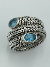 John Hardy Batu Swiss Blue Topaz Sterling Silver Coil Ring MINT CONDITION!