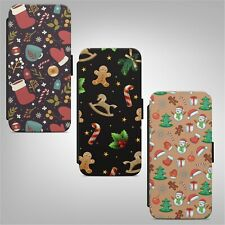 Merry Christmas Winter New Year Print Pattern WALLET FLIP PHONE CASE COVER