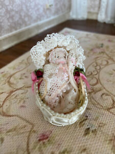 Vintage Miniature Dollhouse 1:12 Artisan Porcelain Baby, Decorated Moses Basket