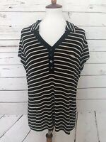 Chico's Travelers Size 3 Black Tan Stripe Short Sleeve Top Shirt Women's V-Neck