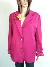 Damen Vintage Retro rosa formale oder lässig Wolle Tweed Jacke Blazer Sz 16 18 AO47
