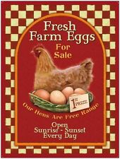 Fresh Farm eggs, Vintage Advert Cafe Kitchen Chicken Shop, Medium Metal Tin Sign